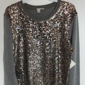 Halogen Gray Multi-color sequin sweatshirt MP NWT